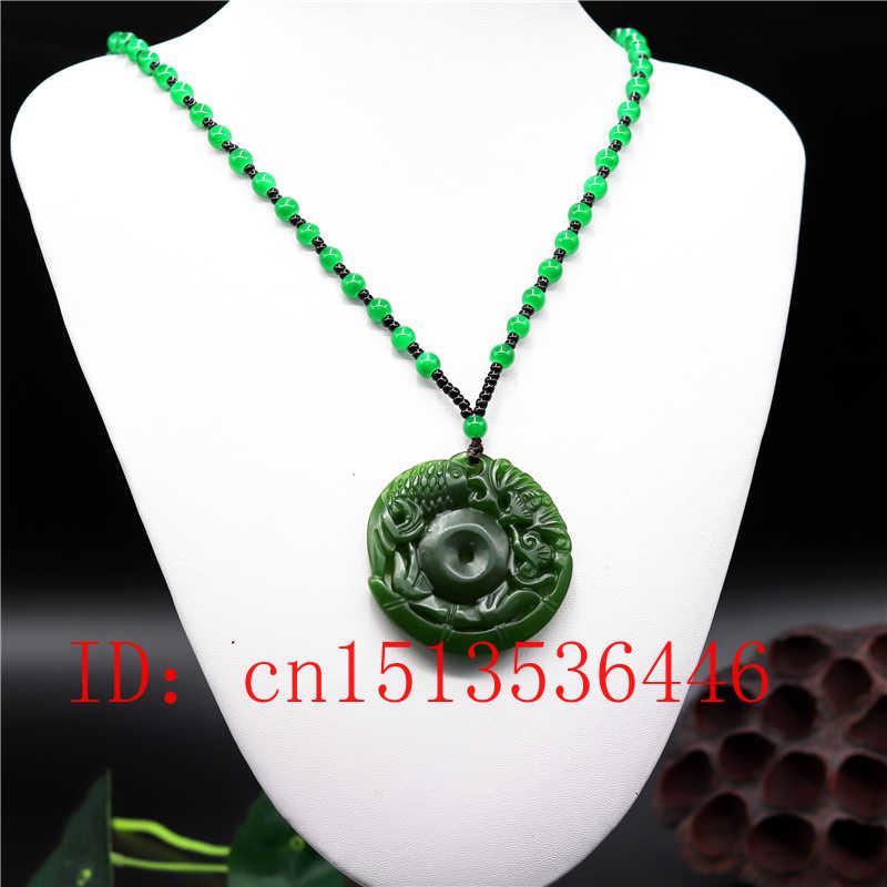 Peixe Esculpido Natural Chinês Verde Jade Colar de Pingente de Charme Jóias Moda Mulher Homem Amuleto Sorte Double-sided