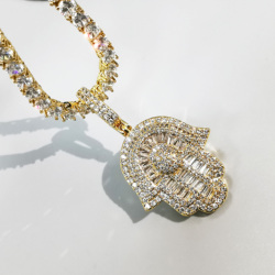 Iced Out Hand Pendant Necklace For Men Women Gifts 2 Colors Geometric Zircon Necklace Fashion Hip Hop Jewelry