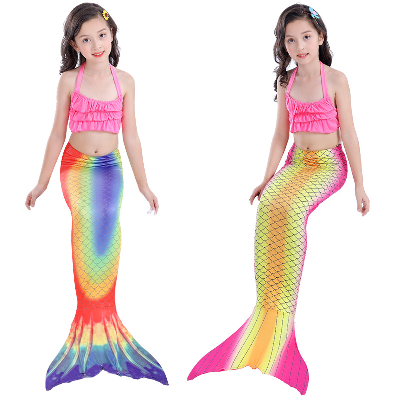 Girl'S Bikini Three-piece Set Swimwear Europe And America Hot Selling Mermaid Tail Swimsuit Children Mermaid Swim Dress