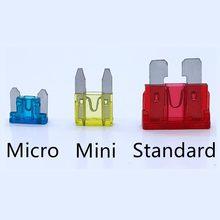 Mini fusível lâmina de zinco, 1 peça de material de liga e plástico 3a 5a 7.5a 10a 15a 20a 25a 30a 35a 40a para caminhão do carro do automóvel