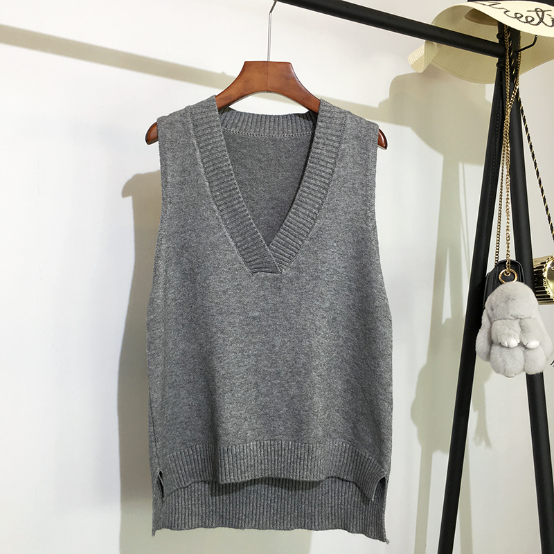 V-neck knitted vest women's sweater autumn and winter new Korean loose wild sweater vest sleeveless sweater - sweaters