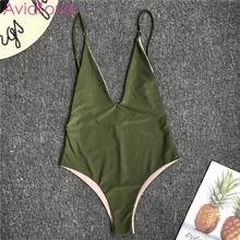 Women Spaghetti Strap Sleeveless Low Back Solid Casual, Swim, Beach Spring, Summer, Autumn Swimwear Bodysuit(China)