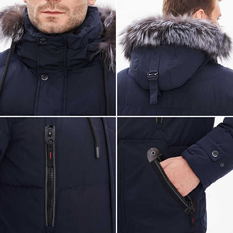 Asesmay גברים חורף מעילי נפוחה מעילי גברים של מעילי חורף מעיל עם נים אופנתי עבה חם שלג ברדס מעיל הלבשה עליונה