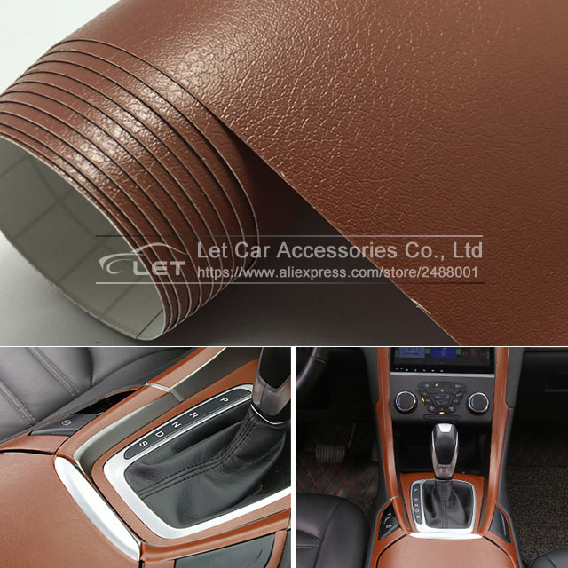 New Brown Leather Grain Texture Vinyl Car Wrap Sticker Decal