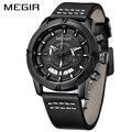 MEGIR часы для мужчин роскошный кожаный ремешок Водонепроницаемый Спортивный Кварцевый Хронограф военные часы мужские часы Relogio Masculino 2019