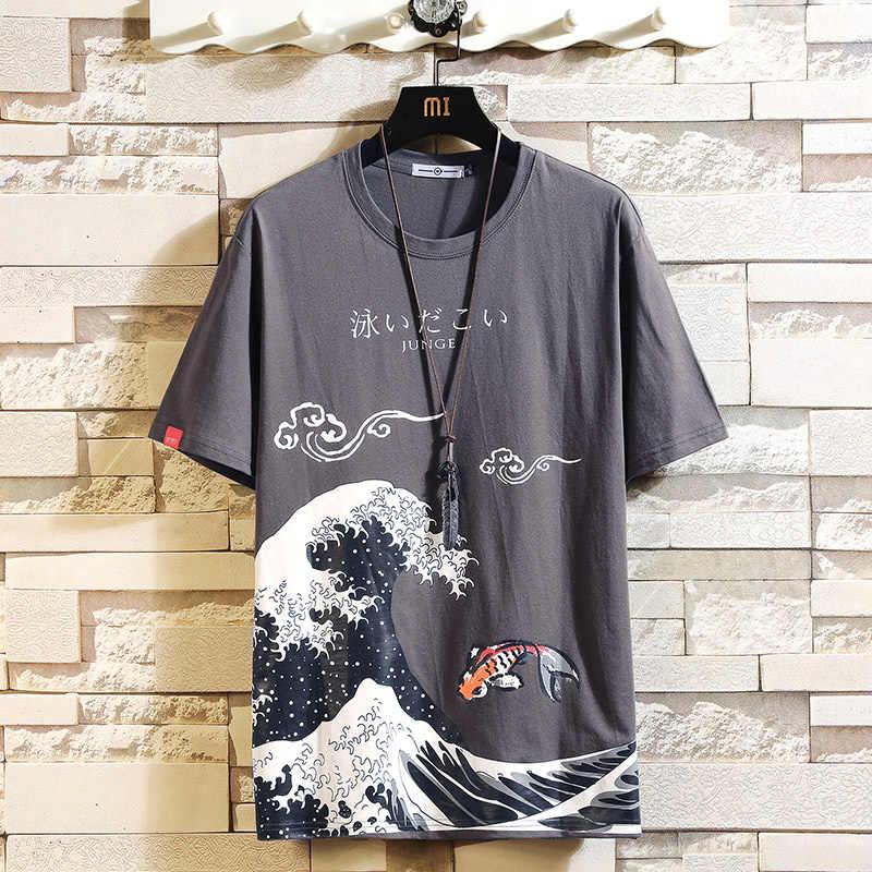 재미 있은 애니메이션 인쇄 대형 남성 T 셔츠 힙합 코 튼 T-셔츠 o-목 여름 일본 남성 인과 Tshirts 5XL 패션 느슨한 티