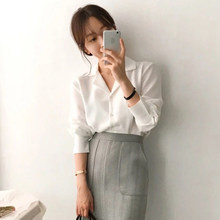 2020 autumn women blouse white casual shirts long sleeve turn down collar with buttons loose office ladies tops camisas mujer(China)