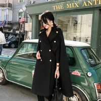 Long Wool Cloak Jacket Women Double Breasted Military Oversized Streetwear Casual Wool Cape British Style Work Party Poncho Coat
