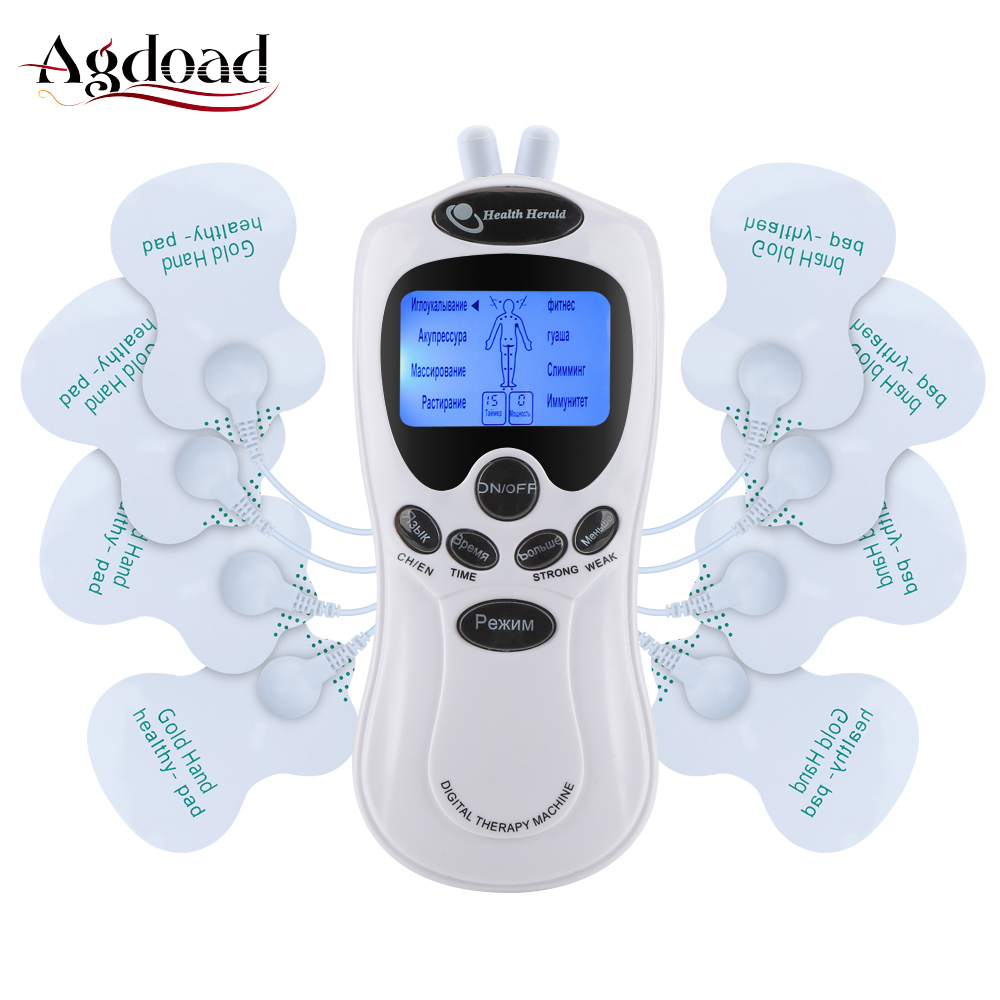 Russian Language Tens Machine Unit Electrical Massager Pulse Muscle Stimulator Dual Tens Therapy Massager Machine Electrode Pads