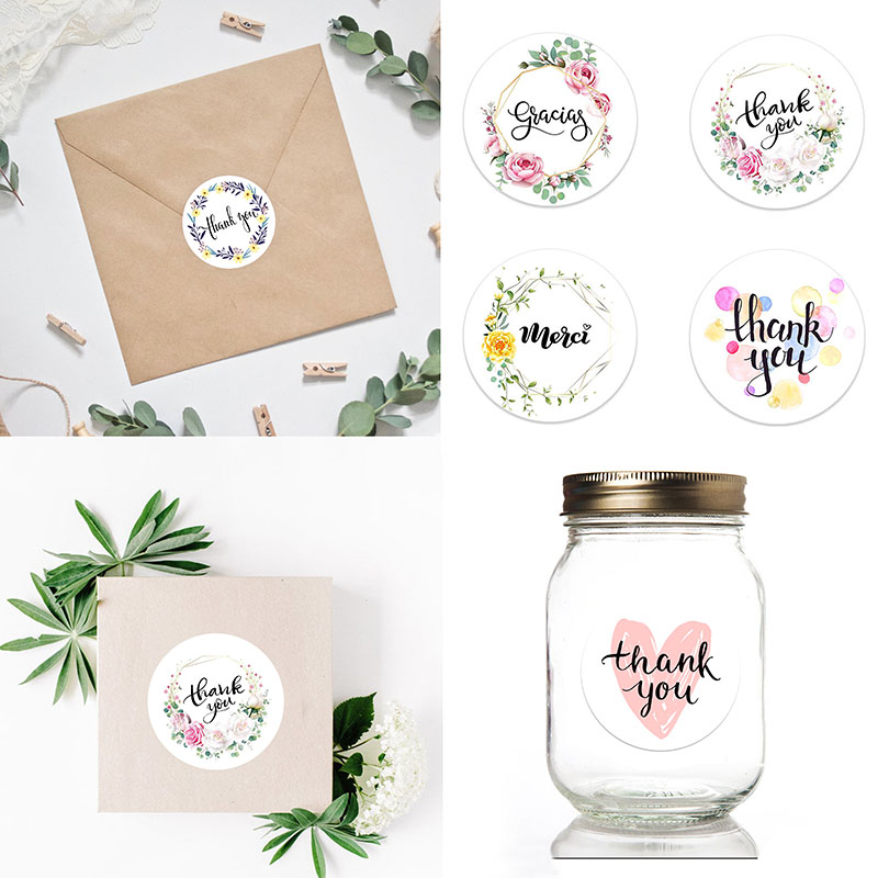Thank You Stickers Scrapbooking Packaging Seal Labels 4.5cm Stationery Stickers Baking DIY Gift Paries Wedding Event Decorations