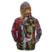 Skull headr Men Sweatshirts zip Hoodies 3D Printed Funny Hip HOP Streetwear zipper Hooded Autumn Jackets Tracksuits 6XL