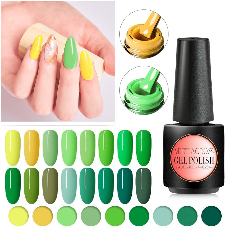 MEET ACROSS Green Series Gel Nail Polish Soak Off UV LED Nails Art Gel Varnish Lacquer Semi Permanent Color Gel Polish For Nail in Nail Gel from Beauty Health