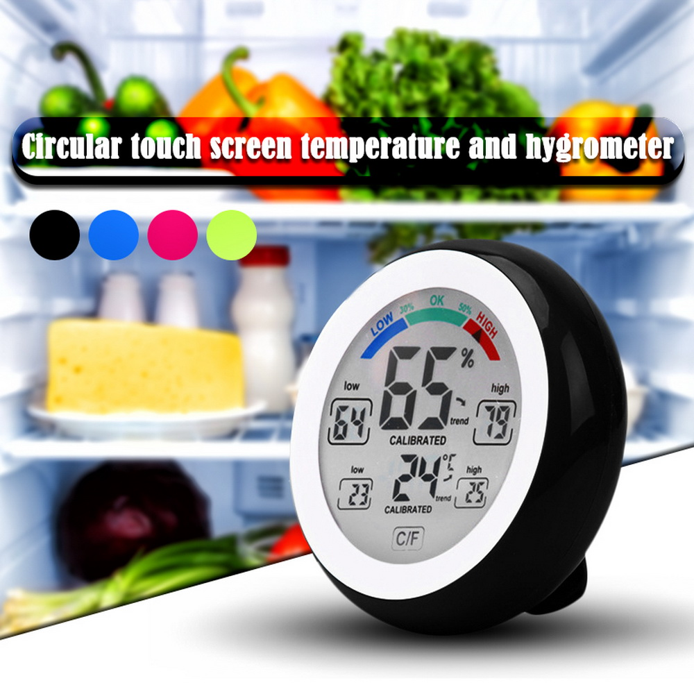 Digital LCD Display Indoor Thermometer Hygrometer Round Wireless Electronic Temperature Humidity Meter Weather Station Tester