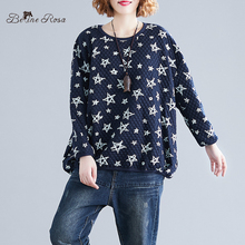 BelineRosa Korean Casual Style Star Printing Cotton Pullovers for Women Autumn Plus Size BSDM273
