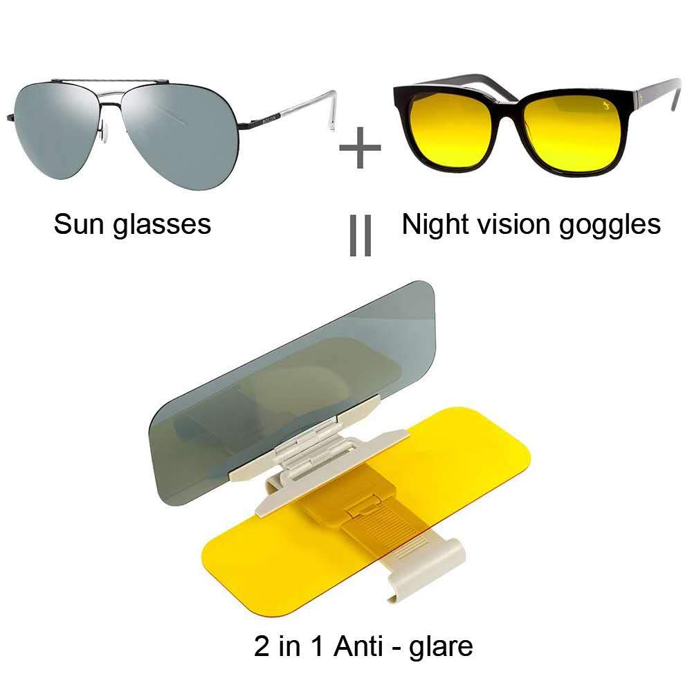 E-FOUR Car Sun Visor for Day and Night Anti-Glares Extender 2 in 1 Automobile Universal Windshield Driving