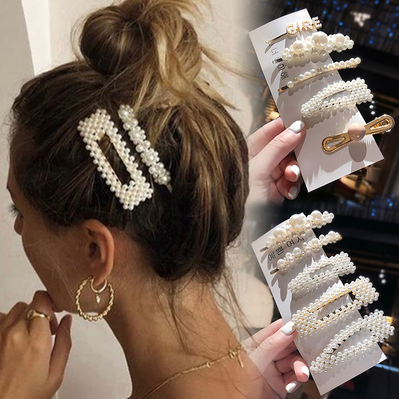 1 Set Fashion Pearl Snap Hair Clips For Women Girls Elegant Hair Barrette Hairpins Headband Handmade Hair Styling Accessories