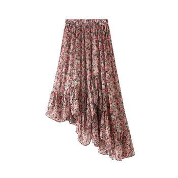 Irregular Skirt Women Pink Summer Chiffon Midi Skirt Kawaii Lady Korean Asymmetrical Floral Pleated Skirts High Waist Skirt box pleated chiffon skirt