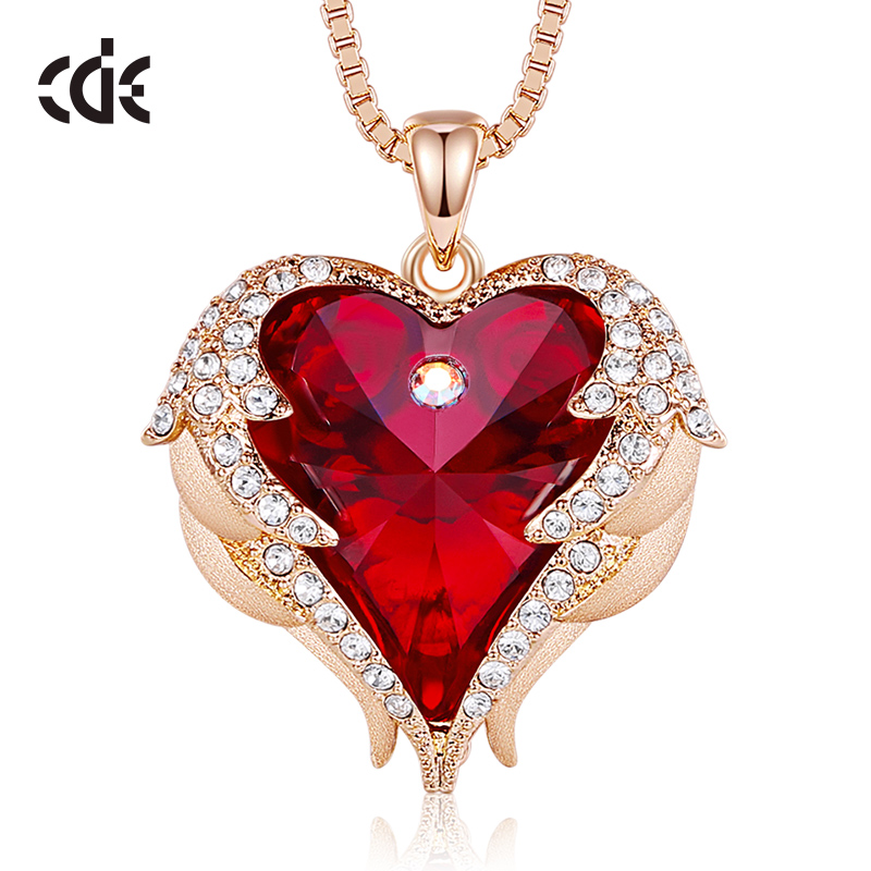 Valentines Day Gift Present Red Heart Necklace Pendant Charm Girl Women Mom f1