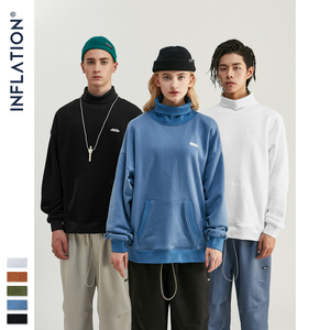 Image 3 - INFLATION Basic Men High collar Sweatshirt Pure color Mens Sweatshirt With Pouch Pocket Loose Fit Mens Autumn Sweatshirt 9620W