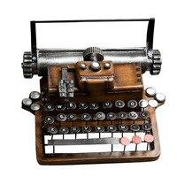 Retro Metal Typewriter Model Vintage Handicrafts Antique Typing Machine Home Decoration Crafts Gift D Type Blue