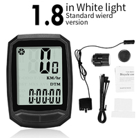 1.8 White-Wired-INBIKE Waterproof Bicycle LED Digital Rate Wireless/Wired MTB Bike Odometer Stopwatch Speedometer