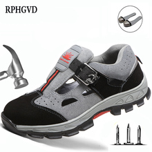 Labor Insurance Shoes Men Steel Toe Caps Anti smashing Safety Shoes Breathable Deodorant Wear resistant Work Sandals