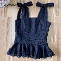 ZIWWSHAOYU Female Summer Black Sexy Bow Strap Tops Women Fashion Designer Embroidery Ruffles Linen Camis Tops