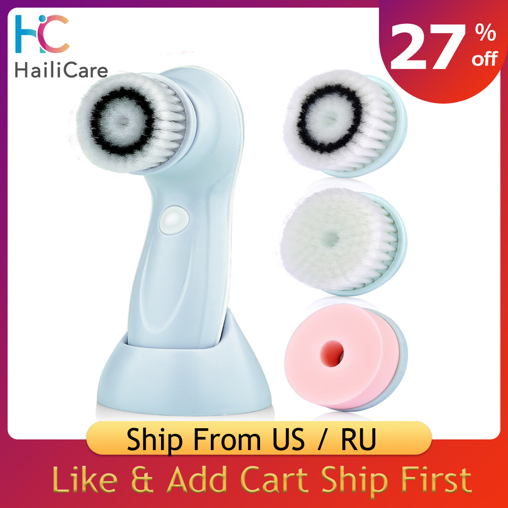 3Heads/Set Multifunctional Electric Face Cleanser USB Rechargeable Facial Washing Cleaning Brush Machine Face Skin Care Tools