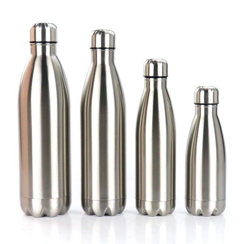 Stainless Steel Sports Water Bottle NOT Insulated Vacuum Flask Single Layer Hot Cold Water Cola Bottle Water Flask 350/500/750ML