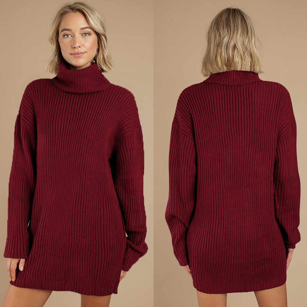 Sonbahar kış kadın uzun örme kazak rahat düz Jumper balıkçı yaka kazak elbise bayan uzun kazak kazak artı boyutu