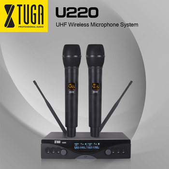 XTUGA U220 Professional UHF Dual Channel Handheld Wireless Microphone System With XLR,Use for Family Party,Church,Small Karaoke