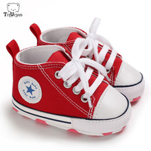 Newborn Baby Boys Girls Canvas Shoes Red Color Lace up First Walkers Soft Breathable Infant Toddler Prewalker For 6 - 12 Months