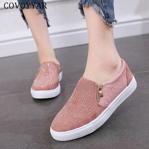 Tênis de Cristal para Mulher Deslizamento em Mocassins Covoyyar Strass Sapatos Mulher Plana Casuais Retalhos Moda 43 Wsn317 2020