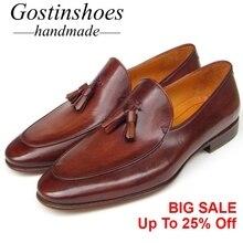 GOSTINSHOES HANDMADE Genuine Leather Men Loafers Slip-On Pointed Toe Tassel Comfortable Men Casual Shoes Goodyear Welted SCT30 цена в Москве и Питере