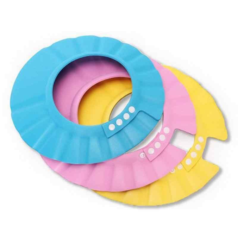 Gorros de ducha de bebé gorro de champú para lavar el pelo niños visera de baño sombreros ajustables impermeables protección de oídos ojos niños sombreros de color al azar