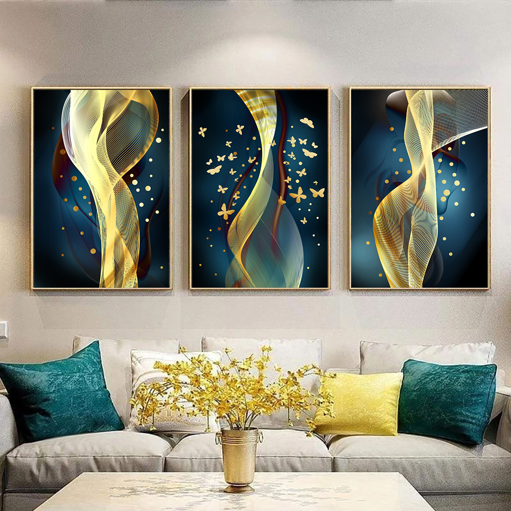 Wall Art Golden Butterfly Abstract Art Canvas Painting Nordic Modern Home Decoration Wall Pictures For Living Room Home Decor