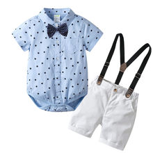 2020 Summer Baby Boys Clothes Set 100% Cotton T-Shirts+Pants 2Pcs Wedding Birthday Baptism Clothing Suit Kids Child Outfits 0323(China)