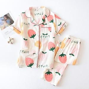 Image 4 - Tươi Nữ Tay Ngắn Mùa Hè Pyjamas Nữ 100% Gạc Cotton Đồ Ngủ Nữ Hàn Quốc Bộ Đồ Ngủ Bộ Nữ Homewear Mới Bán