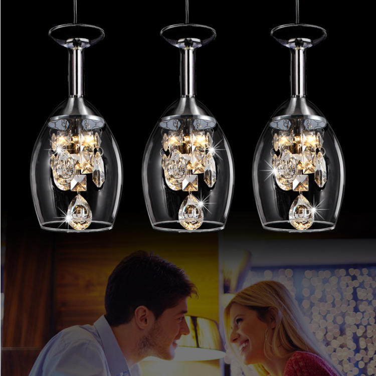 Modern Crystal Wine Glasses Bar Chandelier Ceiling Light Pendant Lamp LED Lighting Hanging Lamp LED Dining Room Lighting Fixture