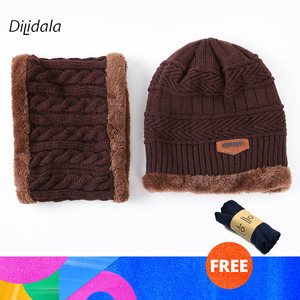 Image 2 - Dilidala Autumn Winter Knitted Hat For Women Warm Collar Sets Two Sets Outdoor Plush Wool Hat Unisex Wild Winter Hat