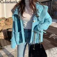Colorfaith, новинка 2019, Осень-зима, женские свитера, однобортные, повседневные, с отложным воротником, вязаные кардиганы, с карманами, топы SWC7812