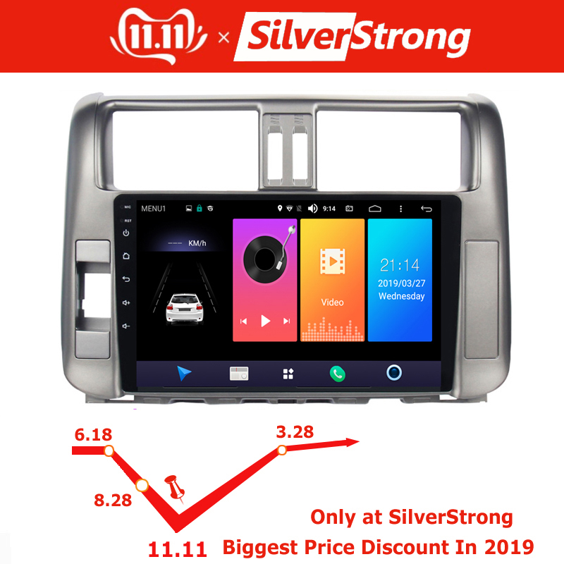 Sale SilverStrong IPS 9inch Android9.0 4G modem Car DVD for Toyota Land cruiser Prado 150 LC150 GPS 2010 2011 2012 2013 Radio no DVD 0