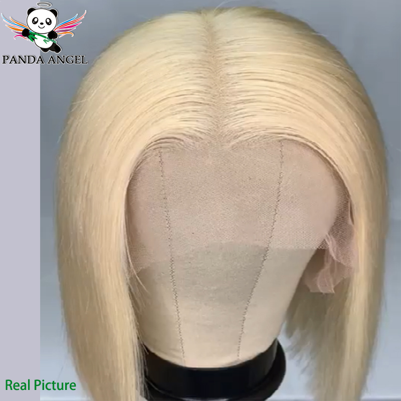 H00d78907ac5c4d85a406f51c8958349eF Panda 4x4 Honey Blonde Lace Wigs #613 Brazilian Hair Ombre Straight Lace Closure Wig 150% Density Blonde Human Hair Wigs Remy