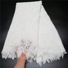 Dentelle Guipure blanche Pure, tissu africain doux pour la peau, broderie, pour robe de soirée