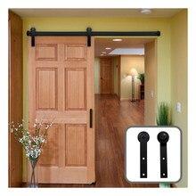 Gifsin 10-16FT drzwi przesuwne zestaw narzędzi Top wieszak śledzić czarna stal drzwi szafy rolki szyna dla pojedyncze drzwi