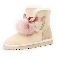 2019 new baby with the same hair ball sheep fur one snow boots female tube winter non slip shoes cotton ankle boots