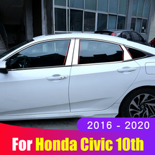 For Honda Civic 10th 2016 2017 2018 2019 2020 Stainless steel Car Window Pillar Post Cover Strip Trim Sticker Accessories loveslf tactical camouflage military uniform clothes suit men us army clothes military combat shirt cargo pants knee pads