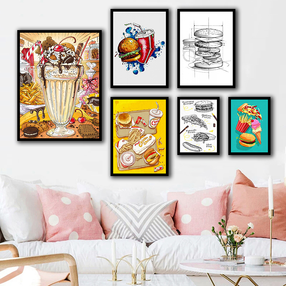 Nordic Style Posters Home Decor Wall Art Food Hamburg Coke Pizza Painting Canvas Kitchen Decoration Modern Modular Pictures