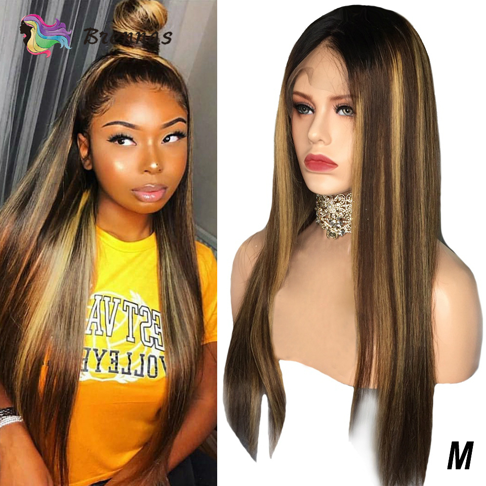 Straight Highlight Wig Honey Blond Ombre 13x4 Lace Front Human Hair Wig Pre Plucked Bleached Knots Brazilian Remy Hair Wig 150%D