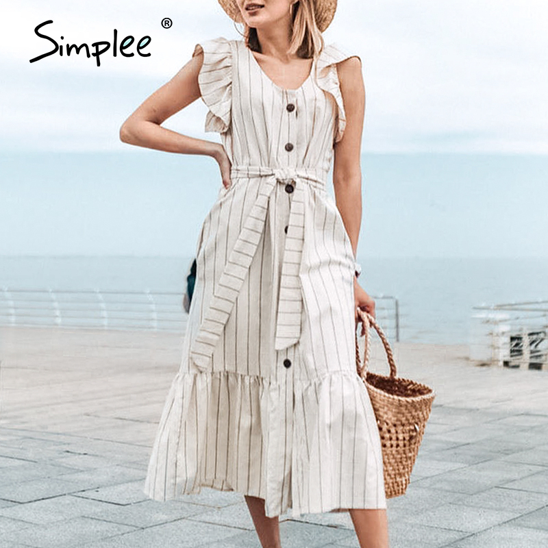 Simplee Classic V-neck Striped Women Long Dress Elegant Ruffle Sleeve Office Female Daily Work Dress Buttons Ladies Maxi Dress